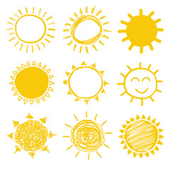 Yellow Vector Sun Doodles