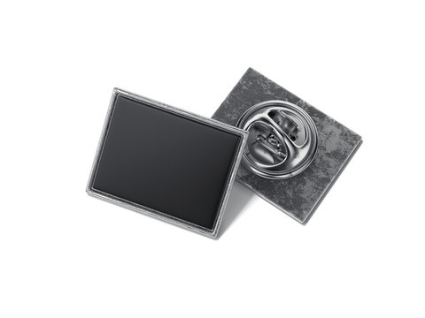 Square lapel pin with black blank face. 3d rendering