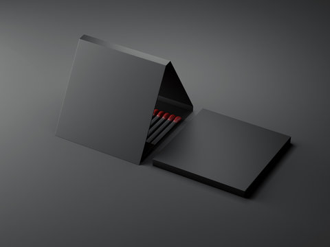 Black opened matchbox. 3d rendering