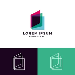 book logo overlapping transparent glass vector download