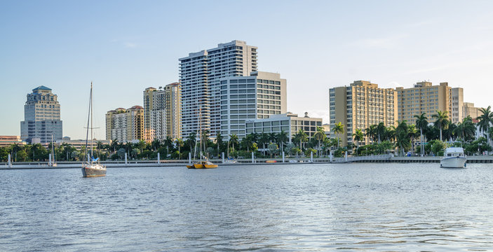 View of the West Palm Beach downtown from the intracoastal waterway