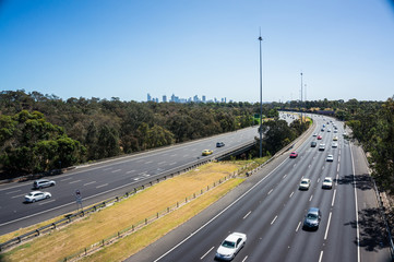 Traffic on the Eastern Freeway in Melbourne, Australia