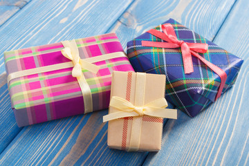 Wrapped colorful gifts with ribbons for Valentine or other celebration