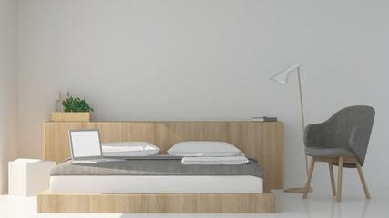 The interior hotel bedroom space 3d rendering