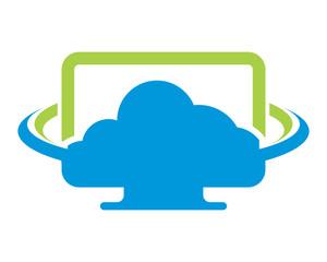 monitor screen cloud computer laptop technology gadget network image vector icon logo symbol