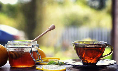 Tea with lemon and mint in nature. A cup of hot mint tea with le