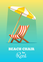 Beach chair or chaise-longue and umbrella for rent. Vector summer illustration