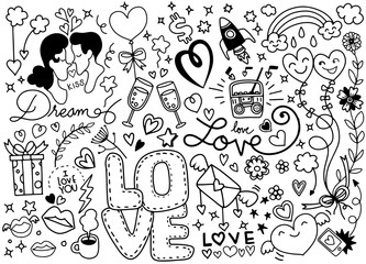 Love Doodle, Hand drawn heart and words love doodle ,vector illustration