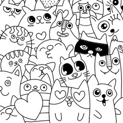Funny doodle cat icons  pattern. Hand drawn pet, kid drawn design. Cute modern elegant style, different breeds