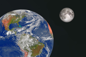 Earth and moon in space.. Elements of this image furnished by NASA