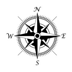 retro style compass icon, wind rose vintage compass icon