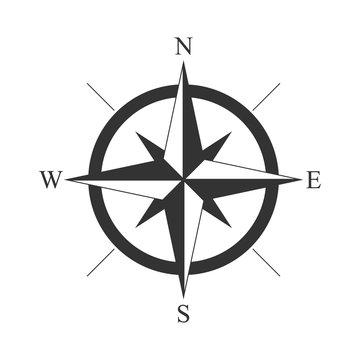 retro style compass icon, wind rose vintage compass icon