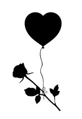 Black silhouette of rose flying on heart  balloon isolated on white