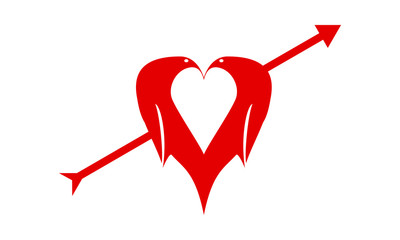 your heart is our heart. Symbol Arrow heart birds
