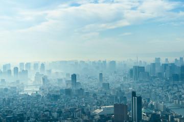 モヤに包まれる東京