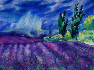 Watercolor painting with beautiful landscape. Typical lavender fields in rainy day.