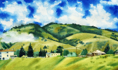 Watercolor painting of a beautiful clouds surrounding the green mountain hills