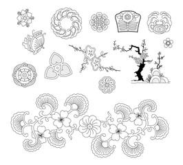 Asian traditional design, Print art symbol of asia. vector illustration