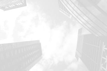 東京の空とビジネス街-白