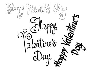 "Vector of hand cursive writing letters written phrases as ""Happy Valentine's Day"" with a brush for a banner or greeting card. Calligraphy drawn text in black color on white background"