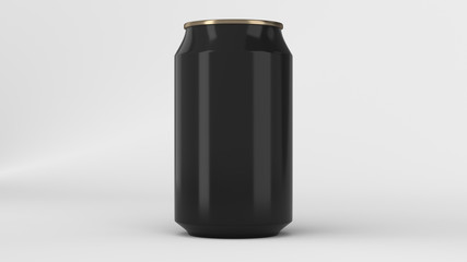 Blank small black and gold aluminium soda can mockup on white background