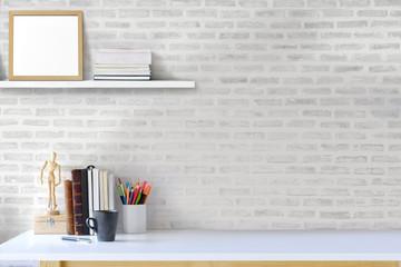 Designer artistic desk. Workspace and designer supplies. mockup