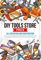 Fotobehang Graffiti collage Vector sketch poster of home repair work tools