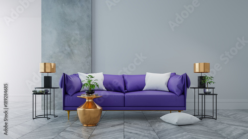 Loft modern interior of living room ultraviolet home decor