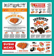 Japanese restaurant sushi menu vector templates