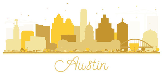 Fototapete - Austin Texas USA City skyline golden silhouette.