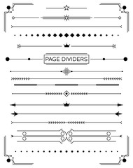 Set of Retro Decorative Page Dividers and Design Elements.