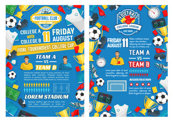 Vector posters for football or soccer sport game