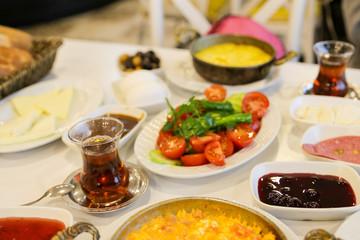 Traditional Turkis breakfast and trukis tea