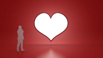 Heart Light and scale Human on Red background for Valentine's day