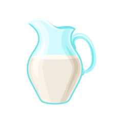 Glass pitcher of milk, dairy product cartoon vector Illustration