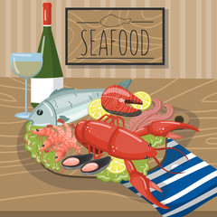 Seafood on plate served with glass of wine vector illustration, cartoon style design element for poster or banner