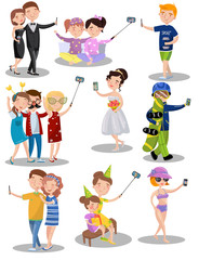 Trendy young people making selfie in different situations set of vector illustrations in cartoon style