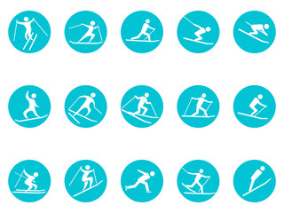 winter sport round button icons set