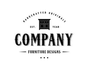 Table for Furniture Design Illustration Vintage Logo Flat