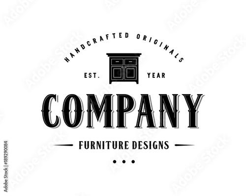 vintage furniture logo. Brilliant Vintage Table For Furniture Design Illustration Vintage Logo Flat Inside B
