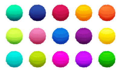 Furry colored balls. Vector pictures set Wall mural