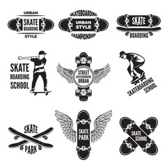 Monochrome labels of skaters. Pictures of skateboarding