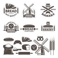 Monochrome labels set for bakery shop. Vector templates with place for your text
