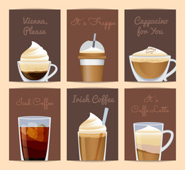 Vector different filled coffee cups card templates with place for text