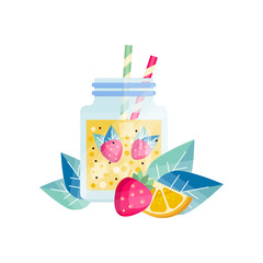 Glass jar with lemon-strawberry cocktail. Refreshing juice. Vegetarian smoothie with ice cubes and drinking straws. Tasty and healthy beverage. Flat vector design