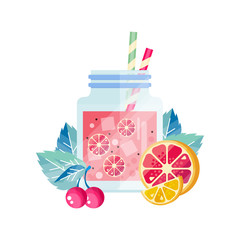 Delicious summer cocktail with cherry, lemon and grapefruit. Glass jar with ice cubes and drinking straws. Organic juice. Healthy beverage. Colorful flat vector design
