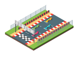 Racing Finish Line Isometric View. Vector