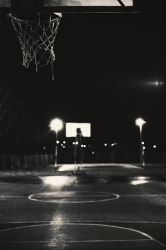 Basketball court by night