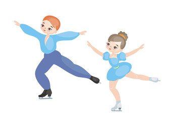 A dancing couple. Pairs figure skating. Winter Olympic sport. Vector illustration isolated on white background.