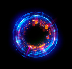 Abstract background. luminous swirling. Elegant glowing circle. Big data cloud. Light ring..Sparking particle. Space tunnel. Colorful ellipse. Glint sphere. Bright border. Magic portal. Energy ball. .